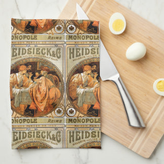 Vintage Heidsieck & Co Monopole Reims Wine Label Kitchen Towel