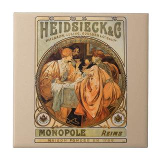 Vintage Heidsieck & Co Monopole Reims Wine Label Tile