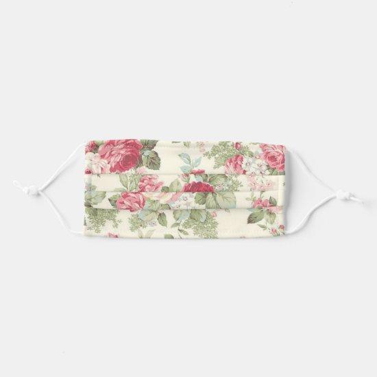 Vintage Heirloom Roses Wallpaper Pattern Adult Cloth Face Mask