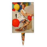 Vintage helium Party balloons Elvgren Pin up Girl Cake Toppers