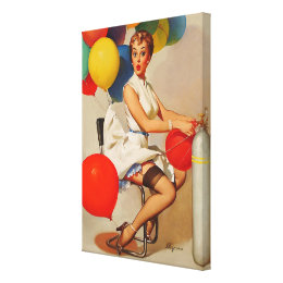 Vintage helium Party balloons Elvgren Pin up Girl Canvas Print