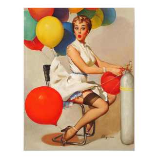 Vintage helium Party balloons Elvgren Pin up Girl Card