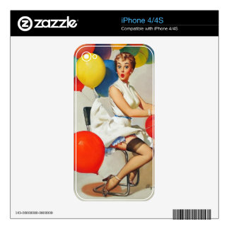 Vintage helium Party balloons Elvgren Pin up Girl Decals For iPhone 4S