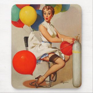 Vintage helium Party balloons Elvgren Pin up Girl Mouse Pad