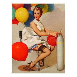 Vintage helium Party balloons Elvgren Pin up Girl Postcard