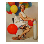 Vintage helium Party balloons Elvgren Pin up Girl Print