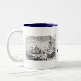 Vintage Helsinki Harbor Finland Print on Mug mug