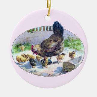 Vintage Hen and Chicks Ceramic Ornament