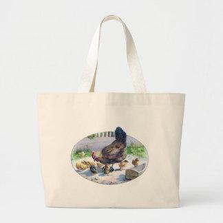 Vintage Hen and Chicks Large Tote Bag