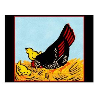 Vintage Hen and Chicks Print Postcard