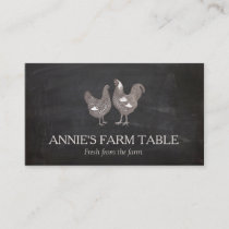 Vintage Hen and  Rooster Farm To Table Chef 2 Business Card