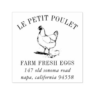 Vintage Hen   Country Farm Address Self-inking Stamp