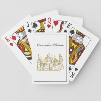 Vintage Heraldic Castle #2 Crest Faux Gold Playing Cards