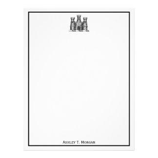 Vintage Heraldic Castle Emblem Coat of Arms Crest Letterhead