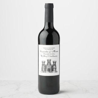 Vintage Heraldic Castle Emblem Coat of Arms Crest Wine Label