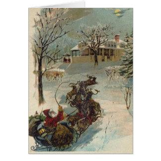 Vintage Here Comes Santa Claus Card