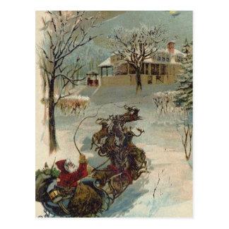 Vintage Here Comes Santa Claus Postcard