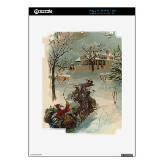 Vintage Here Comes Santa Claus Skins For iPad 2