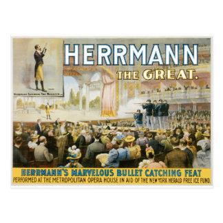 Vintage Herermann The Great Magic Poster Postcard