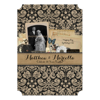 Vintage Heritage Wedding Anniversary Party 5x7 Paper Invitation Card