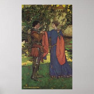 Vintage Hero Prince Knight Shining Armor Princess Poster