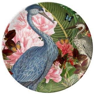 Vintage Herons Collage Decorative Porcelain Plate