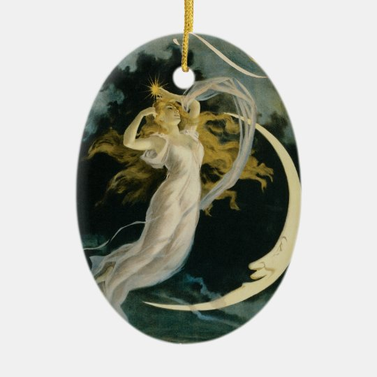 Vintage Herrmann Maid of the Moon Poster Ceramic Ornament