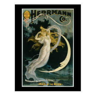 Vintage Herrmann Maid of the Moon Poster Postcards