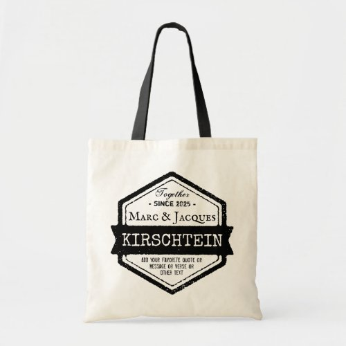 Vintage Hexagon Anniversary Logo Ribbon Your Names Tote Bag