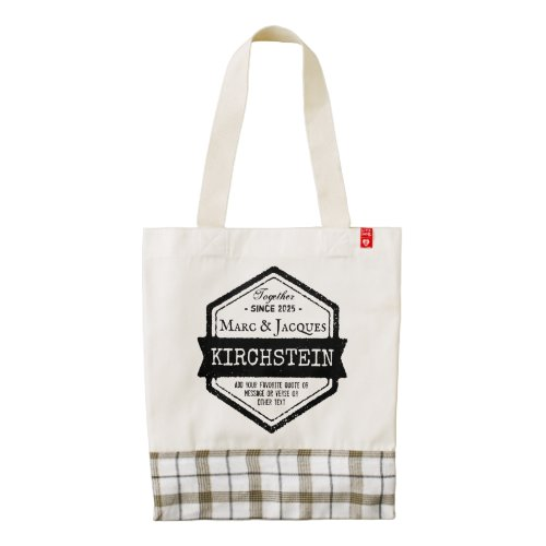 Vintage Hexagon Anniversary Logo Ribbon Your Names Zazzle HEART Tote Bag