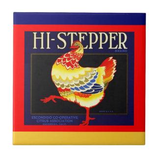 Vintage Hi-stepper Citrus Chicken crate label Tile
