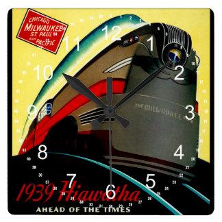 Vintage Hiawatha Streamlined Train Square Wall Clocks