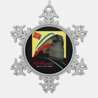 Vintage Hiawatha Streamlined Train Snowflake Pewter Christmas Ornament