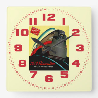 Vintage Hiawatha Streamlined Train Square Wall Clock