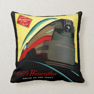 Vintage Hiawatha Streamlined Train Throw Pillow