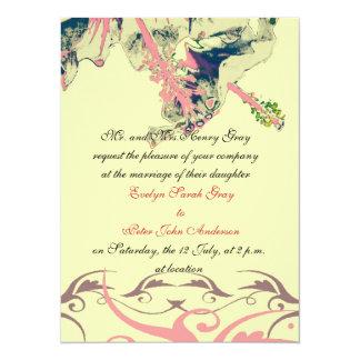 Vintage hibiscus floral brocade wedding invitation
