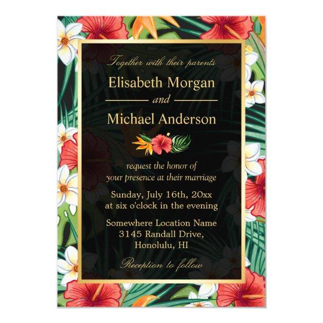 Vintage Hibiscus Floral Gold Frame Formal Wedding Card