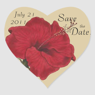 Vintage Hibiscus Floral Save the Date! Heart Heart Sticker