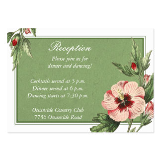 Vintage Hibiscus Floral Wedding Reception Card