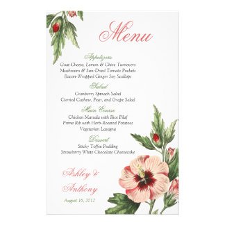 Vintage Hibiscus Floral Wedding Wedding Menu Card