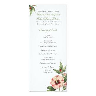 Vintage Hibiscus Floral Wedding Wedding Program Card