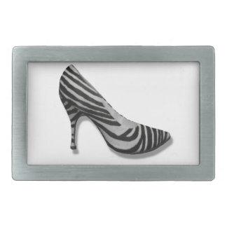 Vintage High Heel Zebra Stripe Shoes Pump Rectangular Belt Buckle