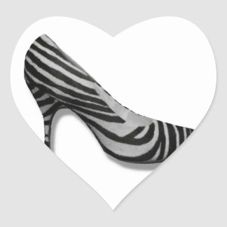 Vintage High Heel Zebra Stripe Shoes Pump Heart Sticker