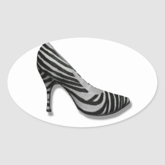 Vintage High Heel Zebra Stripe Shoes Pump Oval Sticker