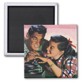 Vintage High School Sweet Hearts, Promise Ring 2 Inch Square Magnet