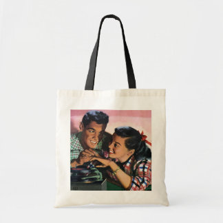 Vintage High School Sweet Hearts, Promise Ring Budget Tote Bag