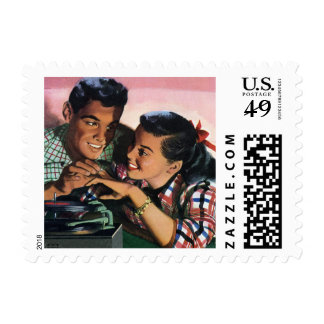 Vintage High School Sweet Hearts, Promise Ring Postage Stamps