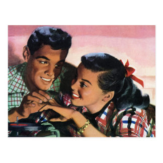 Vintage High School Sweet Hearts, Promise Ring Postcard