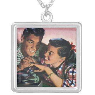 Vintage High School Sweet Hearts, Promise Ring Silver Plated Necklace