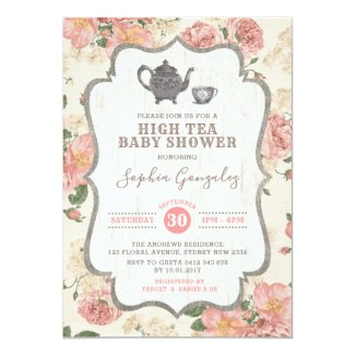 Vintage High Tea Baby Shower Pink Floral Rustic Invitation
